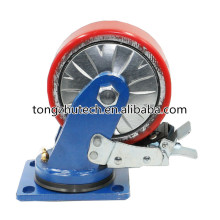 200mm PU Covering Materials Swivel Industrial Casters Wheel with Double Brake