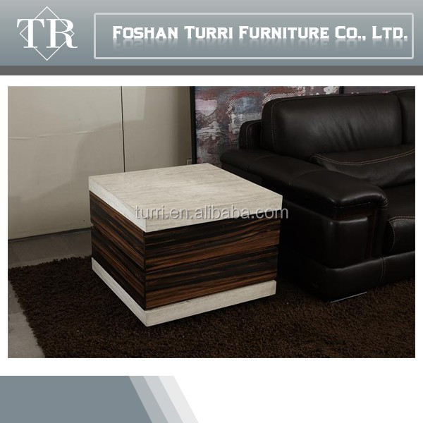 Living room furniture ebony veneer white marble top coffee table