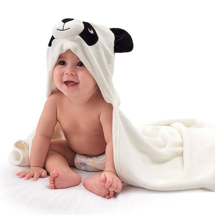 Panda Custom Quality Kids Bamboo Fiber Terry Baby Hooded Bath <strong>Towel</strong>