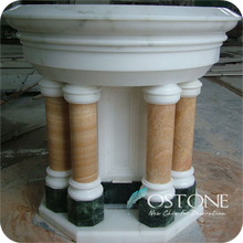 Small Supporting Marble Honey Onyx Pedestal Column in Low Price