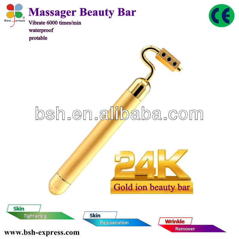 2013 New Products 7 Shape 24KGold Facial Massager Germanium Roller Portable Vibration Beauty Equipment Mini Body Foot Massage