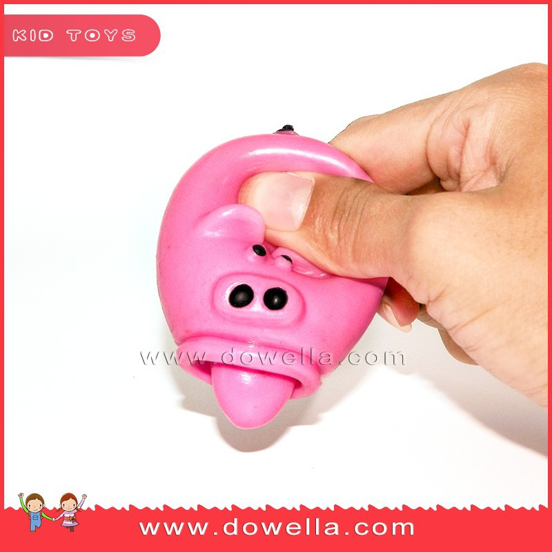 Wholesale TPR animal squeeze toy with the tongue, cute pig squeeze toys for baby