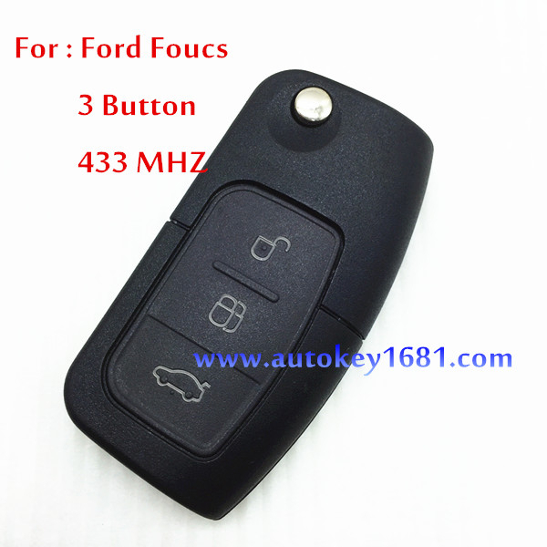 car key for ford focus mendeo flip remote key 3button 433mhz with 4D63 transponder chip uncut blade