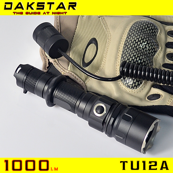 DAKSTAR Hot Selling TU12A 1000LM 18650 Side Switch Stepless Diming rechargeable led torch led torch light tactical flashlight