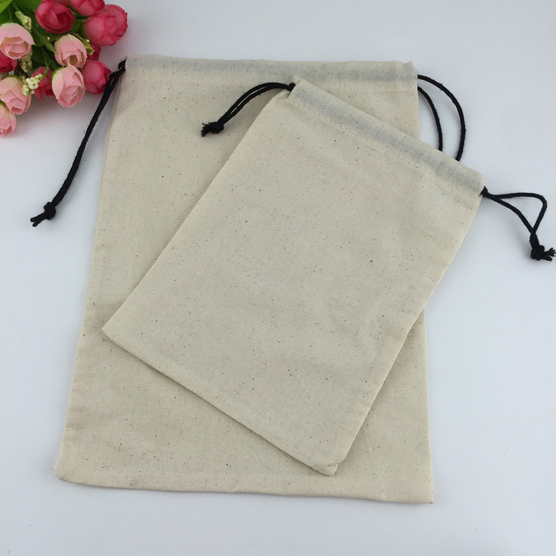 China Suppier Eco Natural Cotton Canvas Drawstring Pouch Bags For Dust Cover