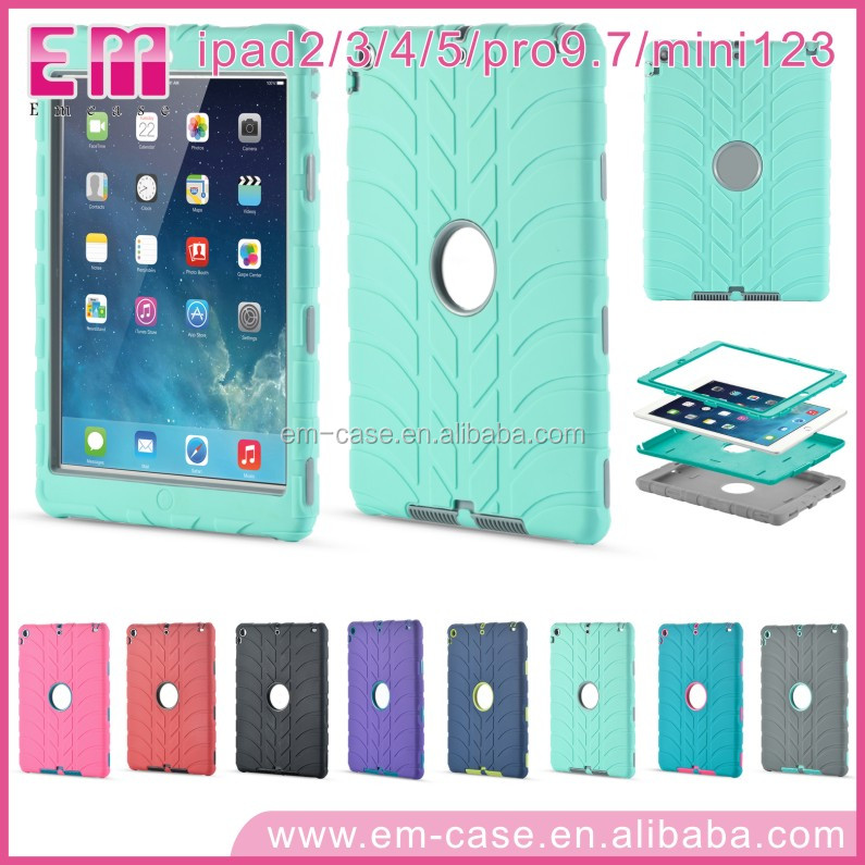 Phone Case Tire Pattern Silicone And PC Cell Phone Case For iPad2 3 4 5 iPad mini2 iPad Pro9 .7