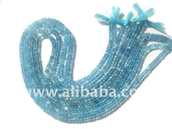 Aquamarine Faceted Rondelle Semi Precious Gemstone Beads