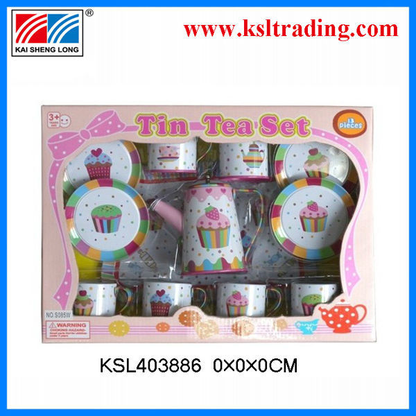 2014 hot selling tinplate printing tea gift set packing made in china kitchen toys shantou toy gift for children