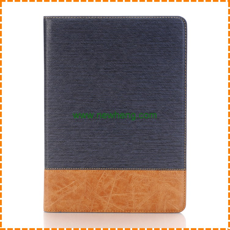 Wholesale Contrast Color Cross Pattern Splicing pu leather stand case for iPad pro 9.7""