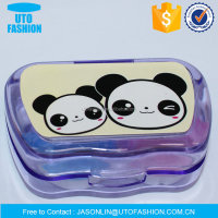 YT8052 cute panda pattern purple contact lenses case