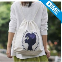 Custom Logo Printed Organic Cotton Shopping Drawstring Backpack