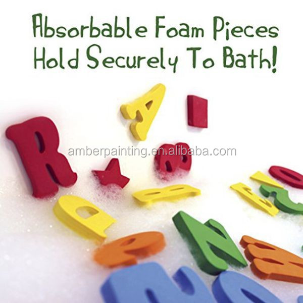 Tub town bath toys alphabet letter foam bath toys with storage bag