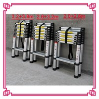 2.6m+3.2m double side telescop stair aluminum wiht stabilizer, A type Bamboo Ladder, telescopic ladder stand aluminum tree stand