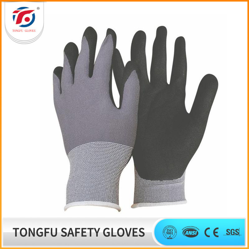 Nylon Gloves Micro-Foam Nitrile Coating Safety Work Glove
