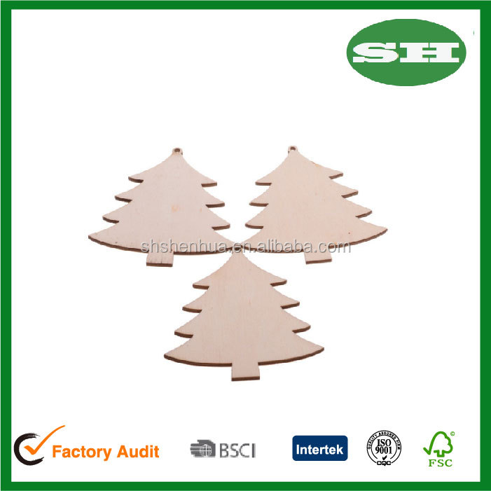 10PCS 80MM Wooden Christmas Tree Kids DIY Crafts Hanging Ornaments Xmas Decoration