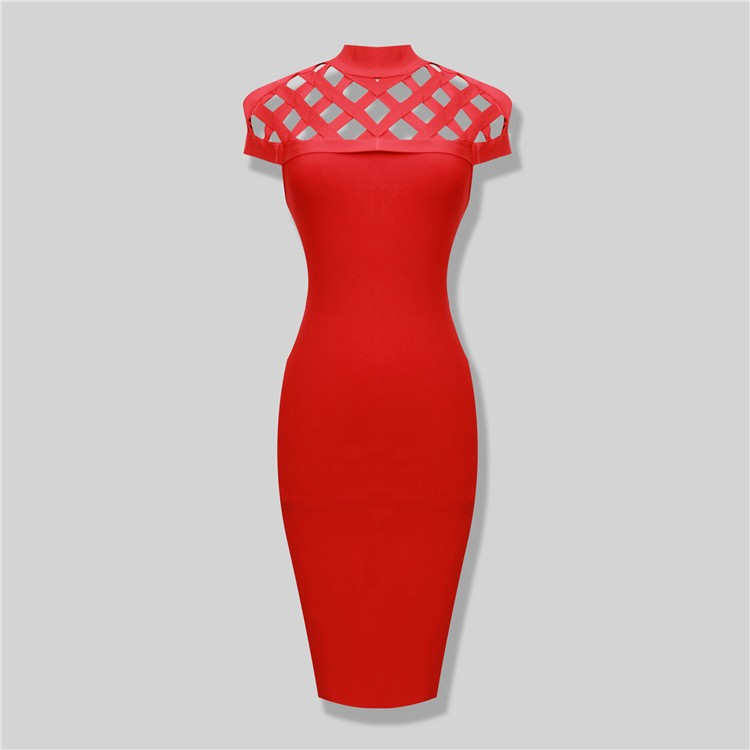 Red Lattice Hollow Rayon Sexy Women Cap Sleeve Knee Length Knitted Elastic 2016 high neck HL Bodycon knee-length Bandage Dress