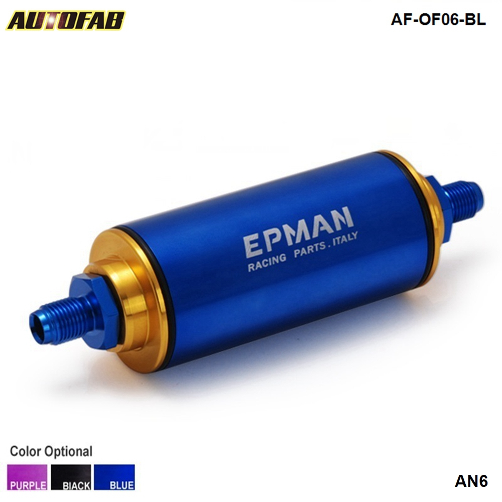 Universal <strong>Racing</strong> Aluminum Blue AN6 High Flow Fuel Filter N/A Turbo Super Charge EP-OF06-BL