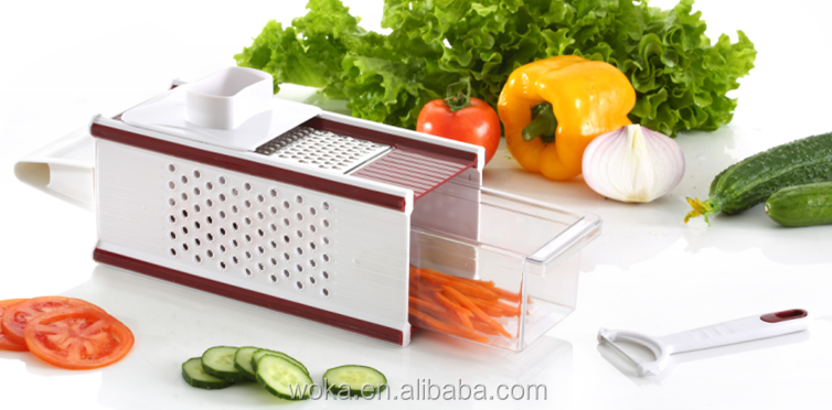 Hand-held Vegetable Slicer 4-blade food spiralizer vegetable box dicer and cutter
