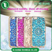 Luxury cube phone accessories of 3d case for iphone 6 with diamond inlay flower shaped back electroplate tpu bling phone case