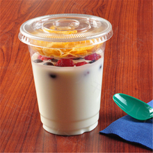 disposable clear hot models Starbucks cereal yogurt cup / food grade plastic yogurt cup with holder 350ml PET