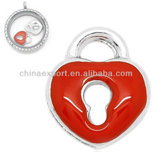 Peach Heart Lock Enamel Red Floating Charms Wholesale