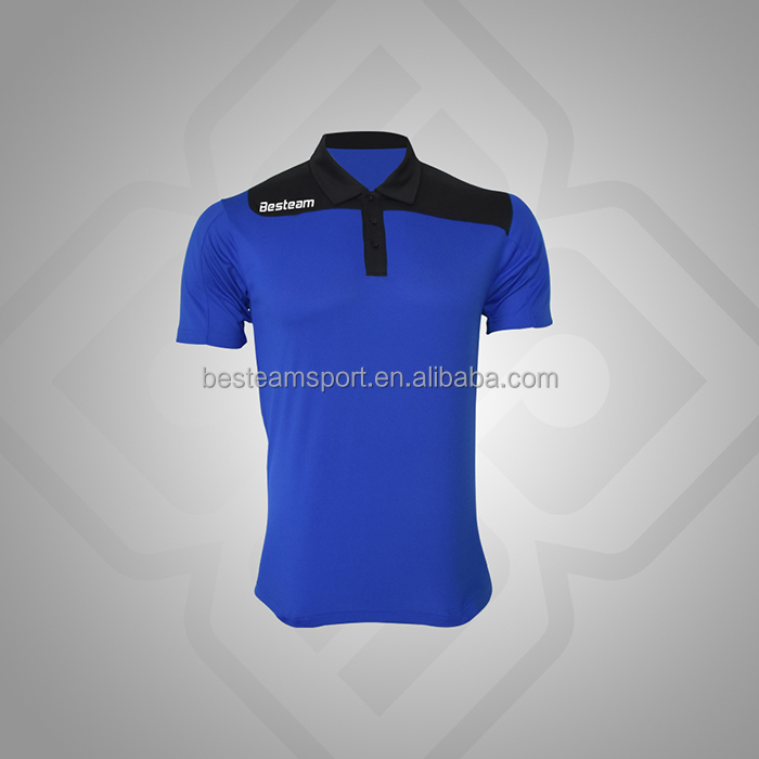 Royal Blue/Black design custom 2016 new design high quality polo shirts for man