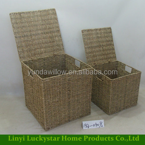 Large Sea Grass Rattan Laundry Storage Hamper Baskets Set with Lids