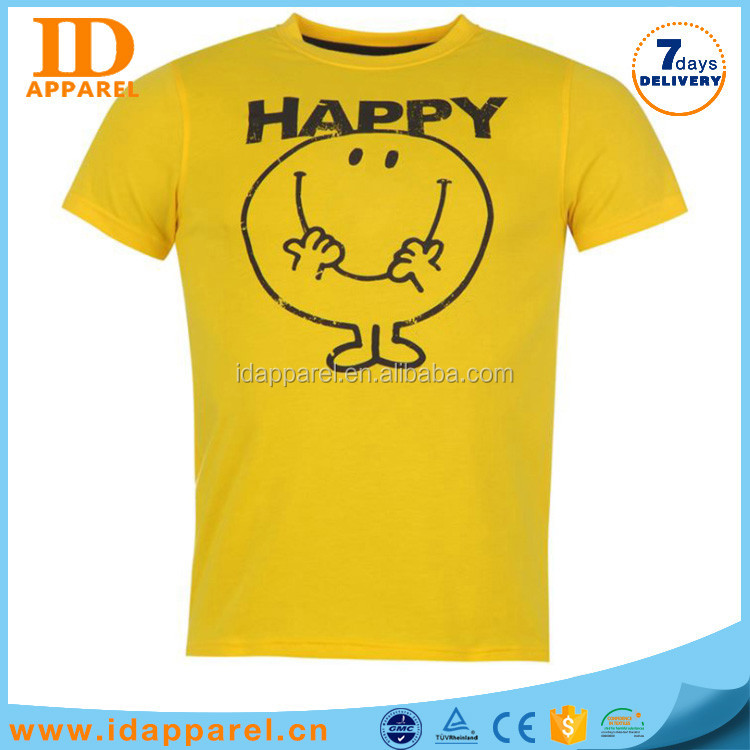 pro club hand painted t-shirts plain yellow with happy face