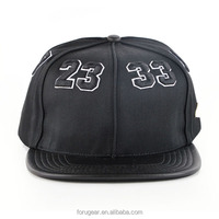 custom 6-panle leather brim embroidery