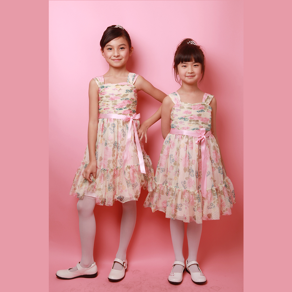 Kids Plain Cotton Summer Girls Puffy Party Dress