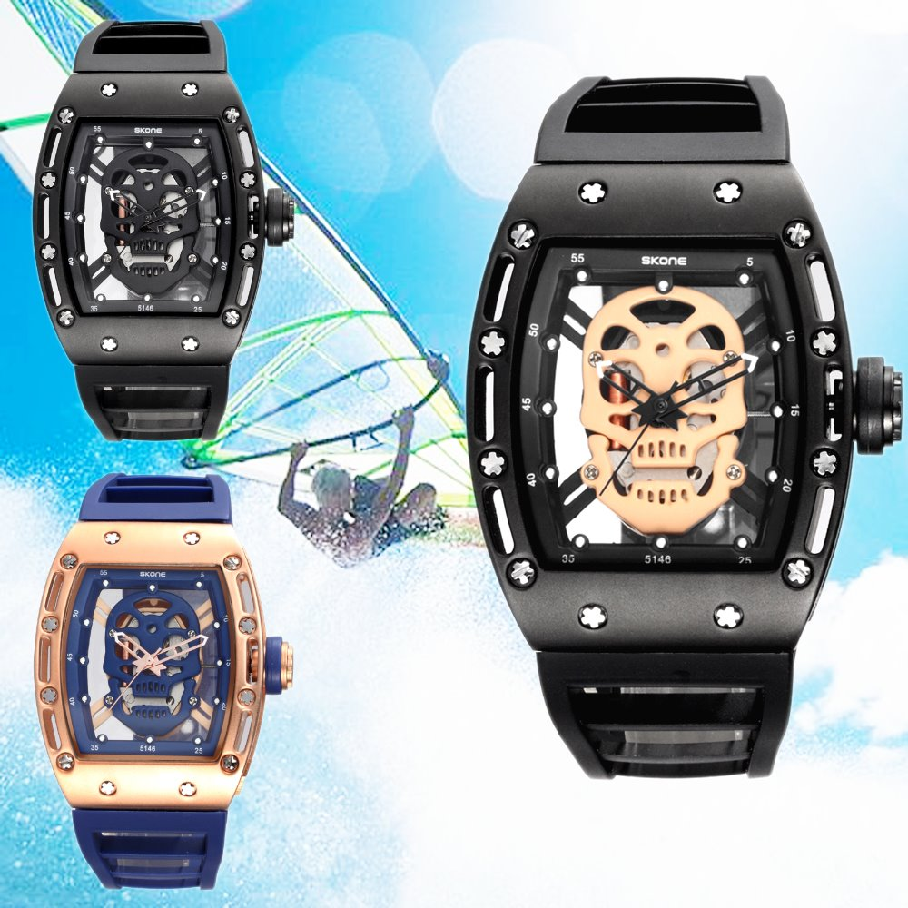 2016 new desitn china made skull face men watch with japan movement