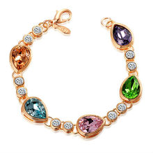 Latest Charm Design Heart Shaped Beaded Bracelets with 18k GP and Colorful Crystal
