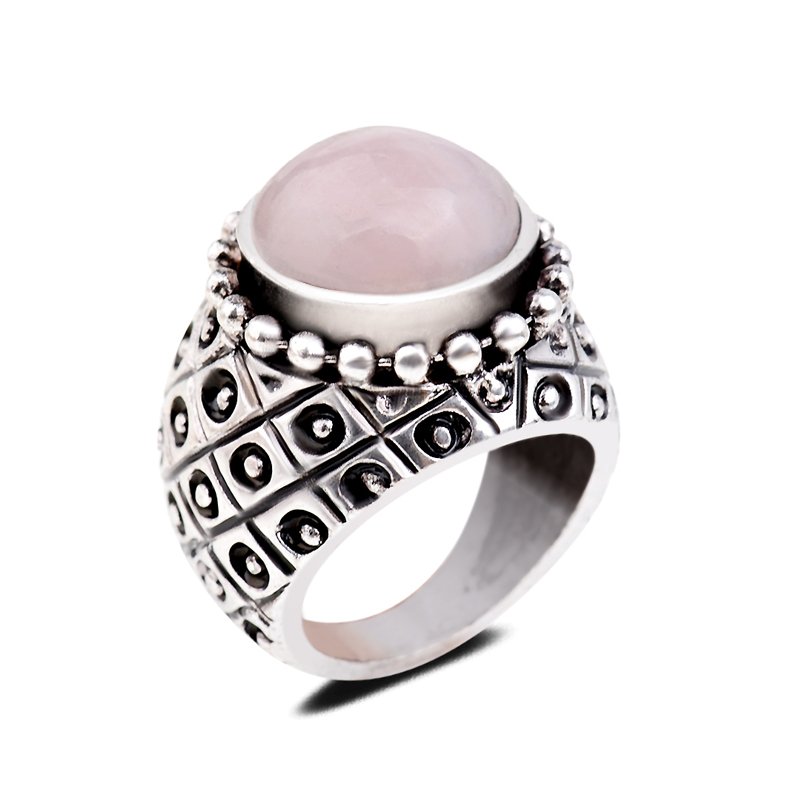 Punk Vintage Gem Rings Natural Rose Quartz Round Stone Finger Ring Bands Exaggerated Carved Stone Ring For Men