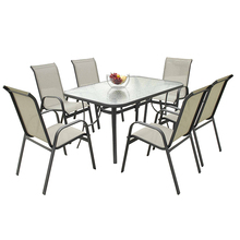 7pcs outdoor sling chair and table dining set