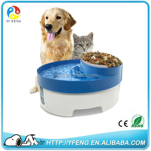 New!Automatic 3 in 1 Pet Water Fountain Drinker & Puppy Food Bowl Feeder for Dog Cats with Water Filter