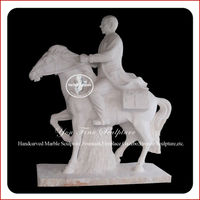 Elegant Marble White Man And Horse Sculpture