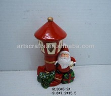 Funny santa with terracotta tealight candle lamp