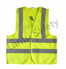 cheap simple style, knitting fabric, high visiability fulo yellow with print reflecting vest
