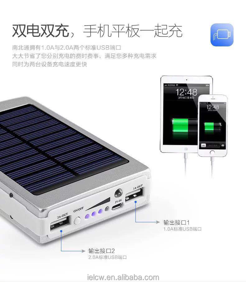 10000mAh Solar Power Bank External Backup Battery Pack Dual USB Solar Panel Charger with 2LED Light solar power bank