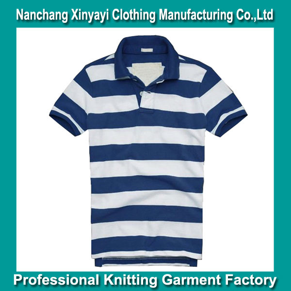 Fashion Men Polo Shirts in Wide Marine Blue and White Stripes, Custom Embroidery Design Logo is Available