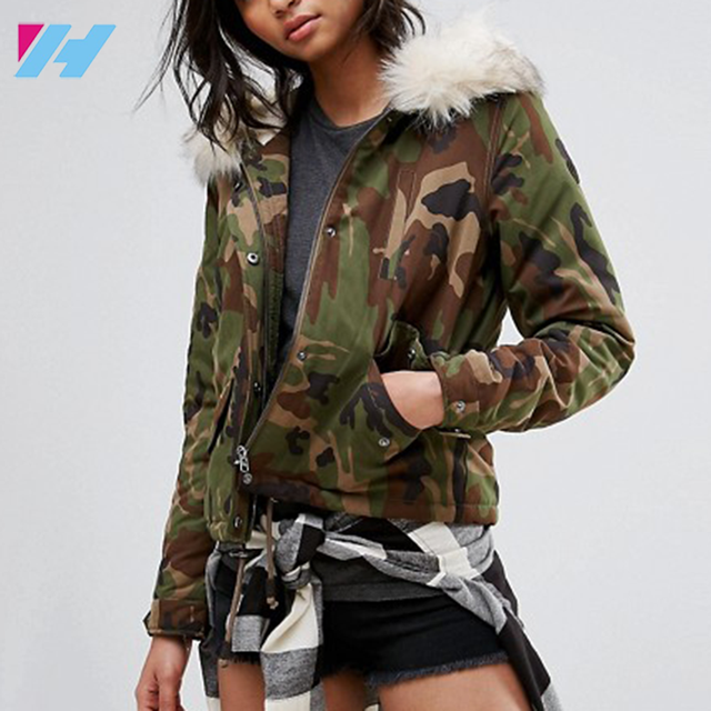 YIHAO 2017 Most Popular Camouflage Clothing Design Women's Wholesale Fur Collar Camouflage Clothing Trench Coat