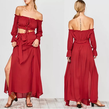 2017 women dresses red rayon off shoulder ladies crop top and skirt two piece set womens clothes