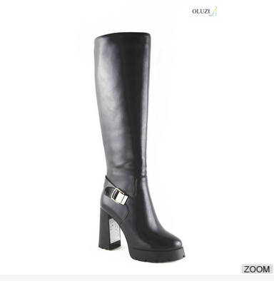 OLZ28 black patent leather high heel shoes women winter warm boots with high heel 12cm heel