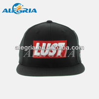 Black flat embroidery snapback hats hip hop for youth
