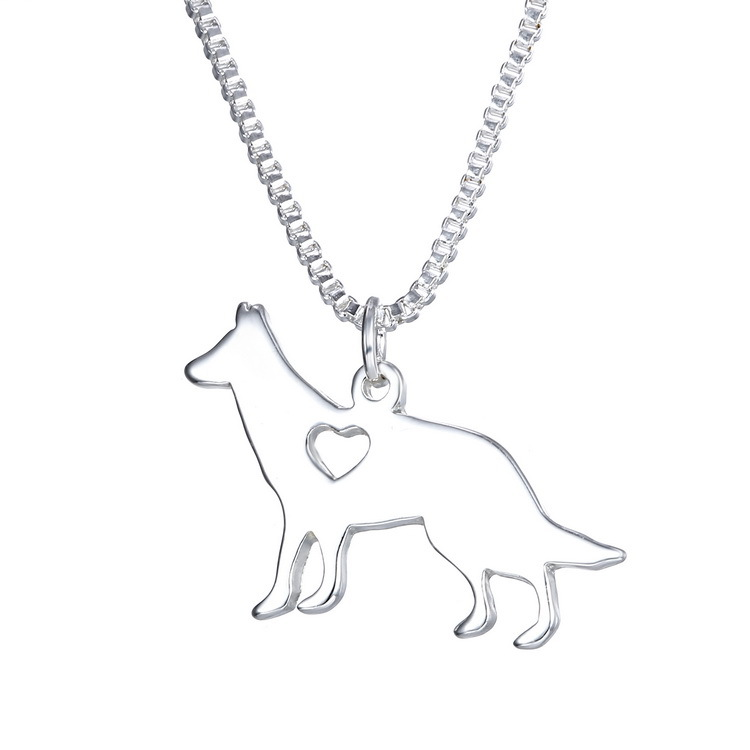 Kongshion zinc alloy material animal jewelry cut out heart dog pendant necklace