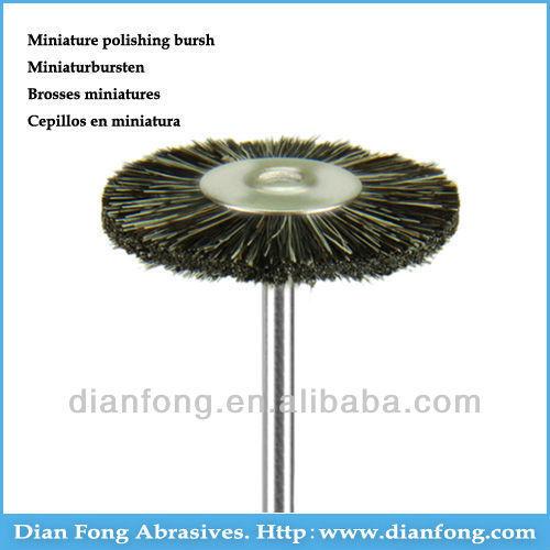 01F22 HP Shank Grey Goat Hair Miniature Wheel Shaped 22mm Rough Dental Laboratory Rotary Polishing Brush Dental Supplies China