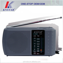Small battery FM radio/AM radio with stereo earphone