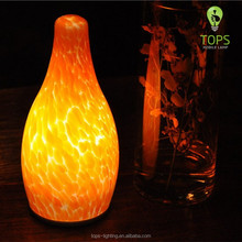 Tops Lighting Brand Hotel Ambience Fire Shape Glass Decorative Light Rechargeable Battery Operated Cordless LED Table Lamp