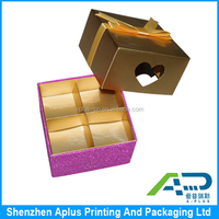 China manufacturer ribbon design divided gift box,top and bottom structure gift paper box, wedding gift box