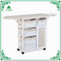 Wholesale furniture folding ironing board cabinet with storage wicker basket drawers and with wheels